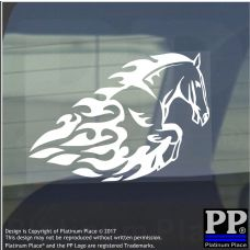Horse Flame-Vinyl Sticker-Car Window Graphic Decal Sign Animal,Saddle,Pony,Trot